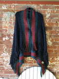 Zip Up Fringe Poncho