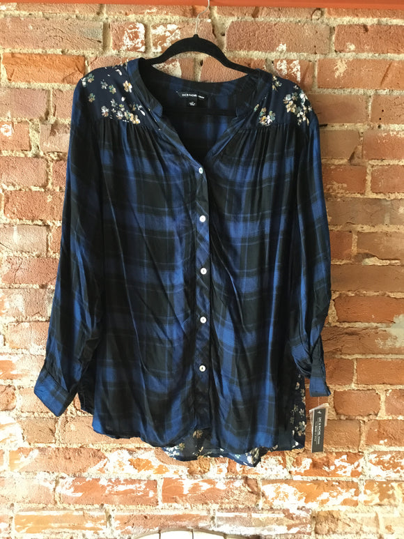 Plus Size Blue Flannel