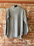 Distressed Mock Neck Sweater