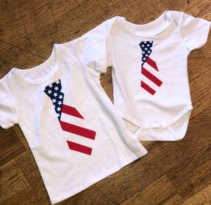 Kids White Top with American Flag Tie