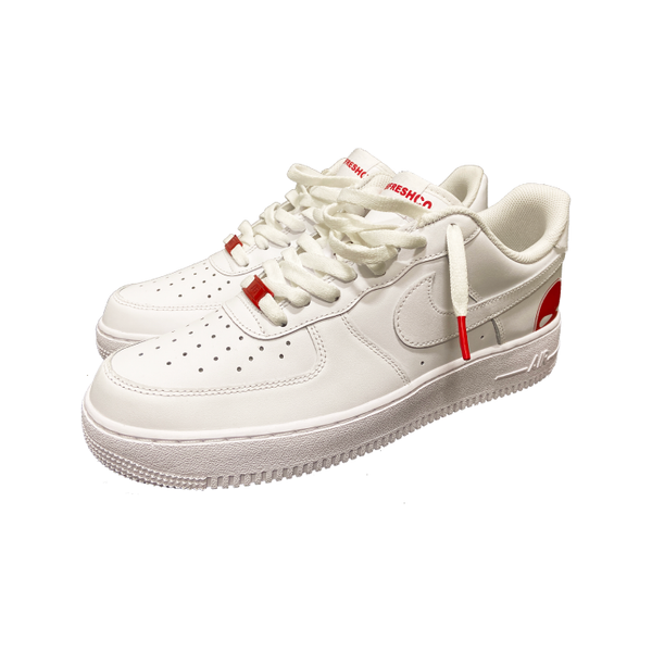Red AF1 shoes - DUMBFRESHCO