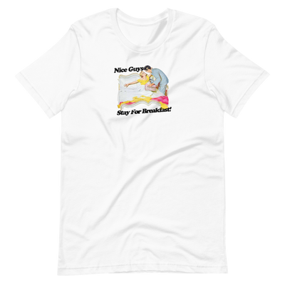 Vintage Nice Guys Stay For Breakfast T-Shirt white - DUMBFRESHCO