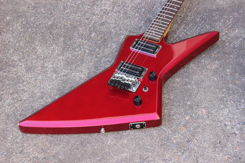 1985 Aria Pro II Japan ZZ-Deluxe Explorer MIJ Electric Guitar (Candy Apple Red)