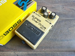 1988 Boss SD-1 Super Overdrive Vintage Black Label Effects Pedal w/Box