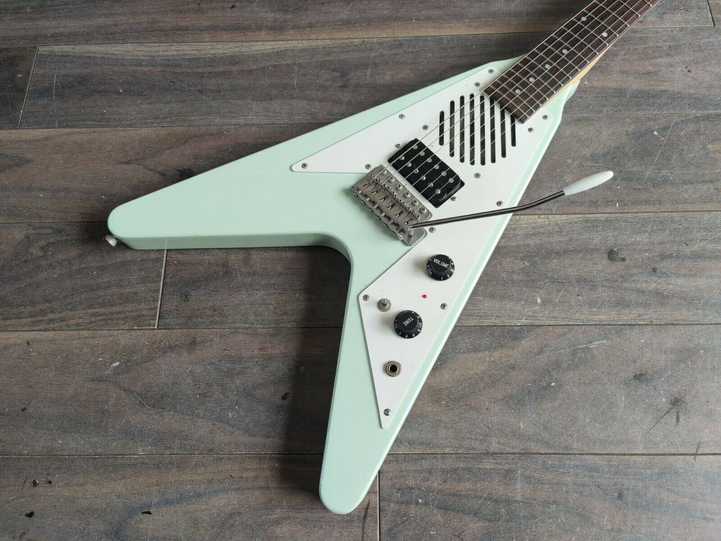1992 Greco MINI-FV Mini Flying V w/Onboard Speaker (Seafoam)