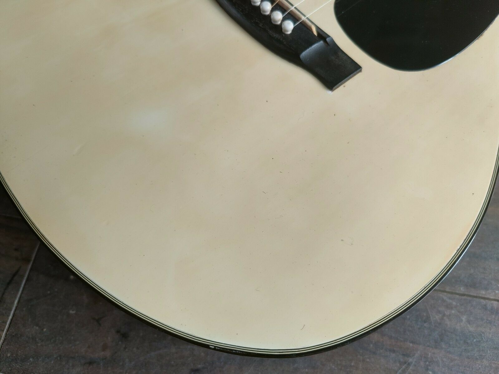 1970's Hamox Deluxe Japan F1501W Acoustic Guitar (White)