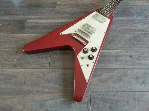 1978 Greco Japan FV-600 Flying V (Cherry Red) w/Hard Case