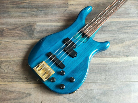 1991 Fernandes Japan FRB-70 Revolver Active Bass (See Through Blue)