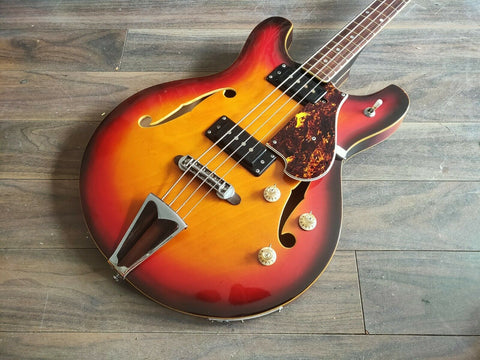 1968 Guyatone Japan SB-25 Hollowbody Short Scale Bass w/Hard Case