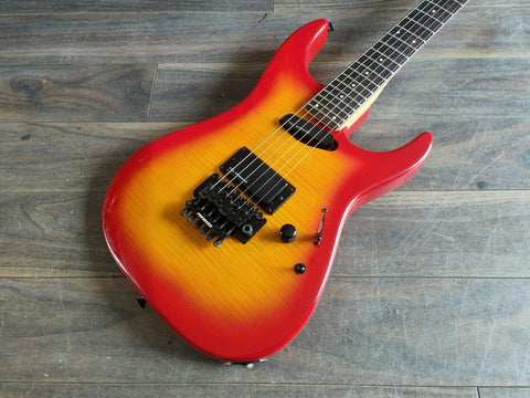 1988 Fernandes Japan FR-85 Revolver Active Superstrat (Cherry Sunburst)
