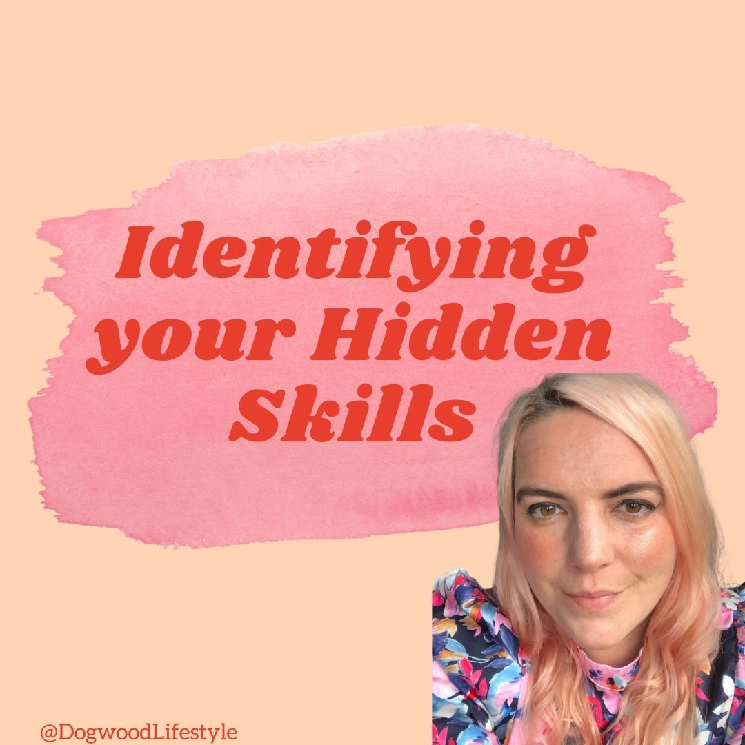 Graphic with text 'identifying your hidden skills'