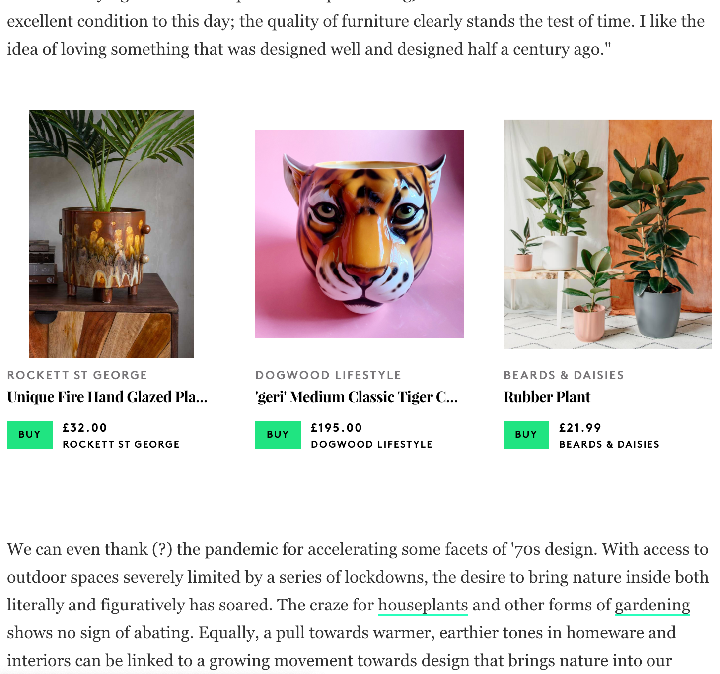 screenshot of products featured in the article with recommended items to shop and buy including a leopard and tiger head ceramic planter