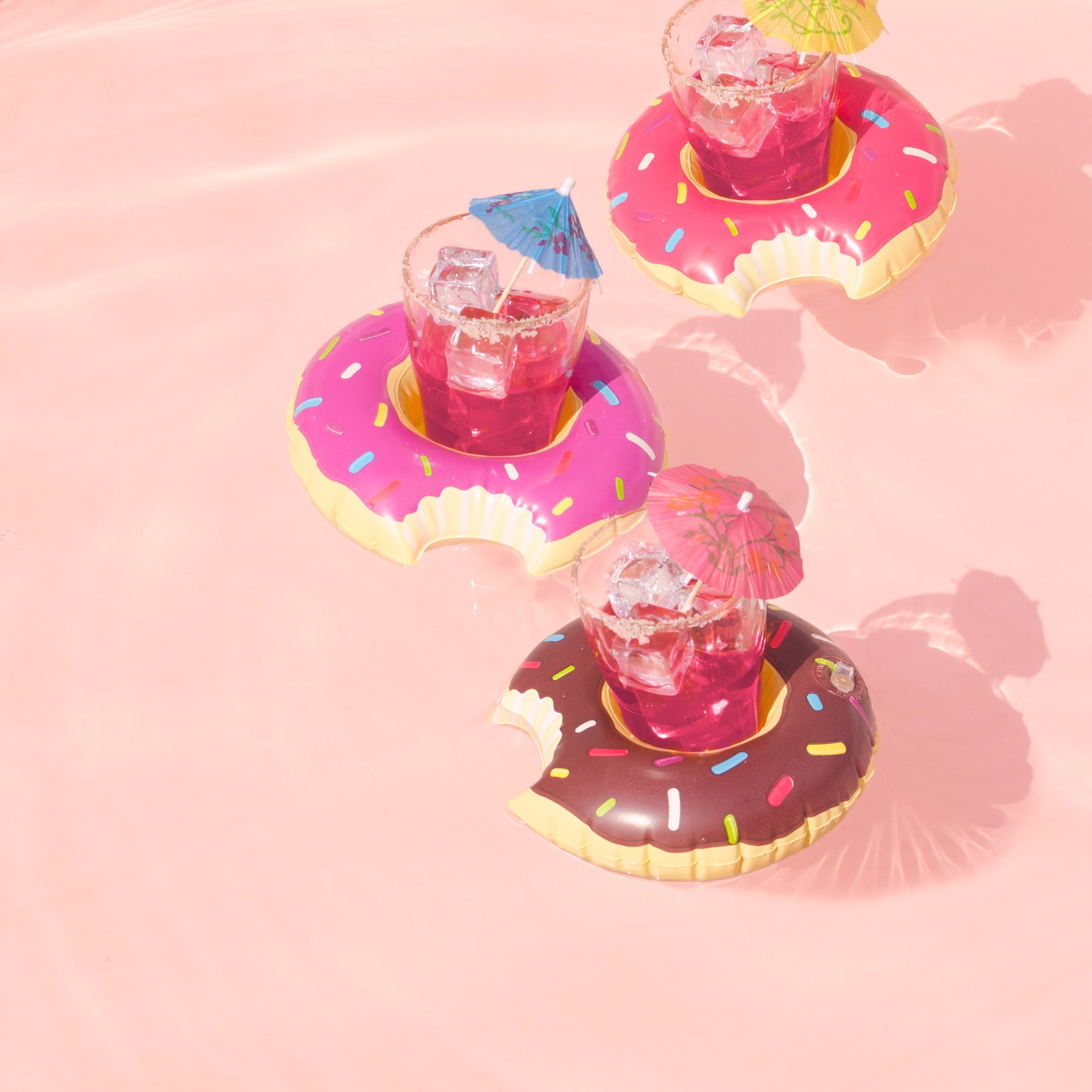donuts floating in a swimmingpool