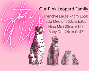 PRE ORDER 'Frenchie' EXCLUSIVE PINK Large Ceramic Leopard Statue Vintage