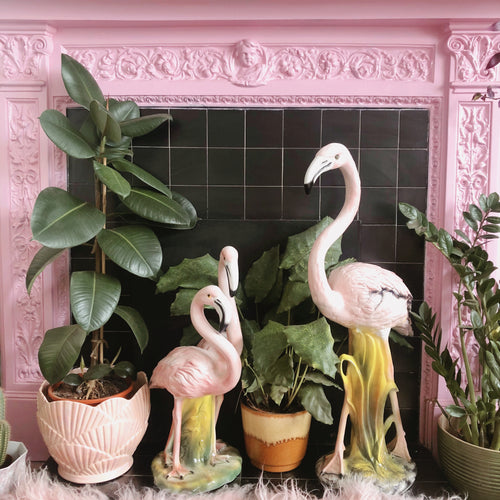 PREORDER 'Phillis & Dillis' Medium Ceramic Pink Flamingo Pair Statue