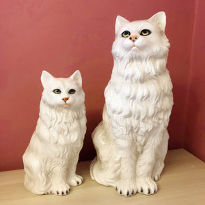 'Purdey' Medium Sitting Persian Cat Italian Ceramic Statue