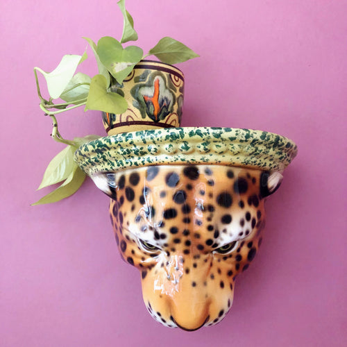 PREORDER 'Diana' Ceramic Leopard Statue Wall Shelf