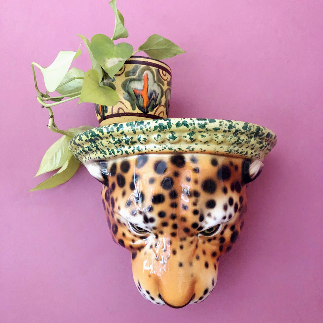 NEW 'Diana' Ceramic Leopard Statue Wall Shelf