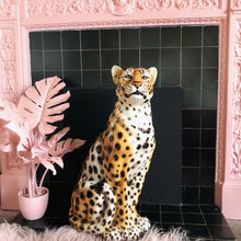 Load image into Gallery viewer, PREORDER 'Dolly' Large Ceramic Leopard Statue Vintage