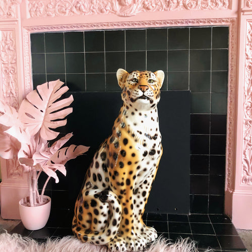 NEW 'Dolly' Large Ceramic Leopard Statue Vintage