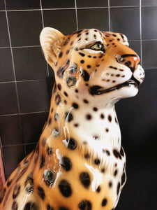PREORDER 'Dolly' Large Ceramic Leopard Statue Vintage