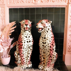 NEW 'FRENCHIE' EXCLUSIVE PINK Large Ceramic Leopard Statues (Single or Pair) Vintage