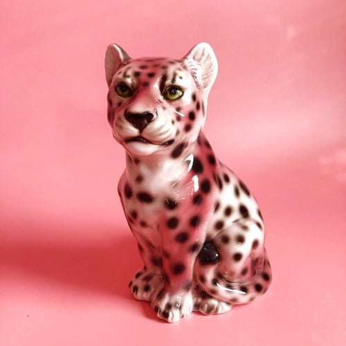 NEW LIMITED 'Baby Dot' EXCLUSIVE PINK Ceramic Leopard Statues Vintage
