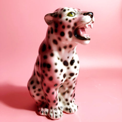 NEW 'Nina' Mini EXCLUSIVE PINK Ceramic Leopard Statue Vintage