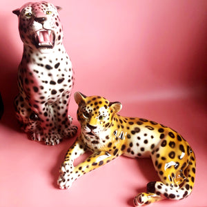 PREORDER 'Angel' Large Sitting Ceramic Leopard Statue