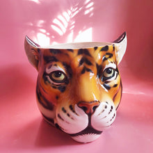 Load image into Gallery viewer, Italian ceramic planter in the shape of a leopard head