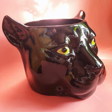 Load image into Gallery viewer, 'Piper' XL Black Ceramic Panther Planter