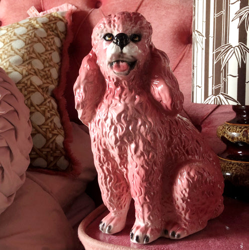 NEW 'Candy' Pink Sitting Poodle Dog Italian Ceramic Statue