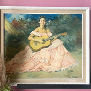 'La Guitarista' by Clement Original Framed Portrait Print