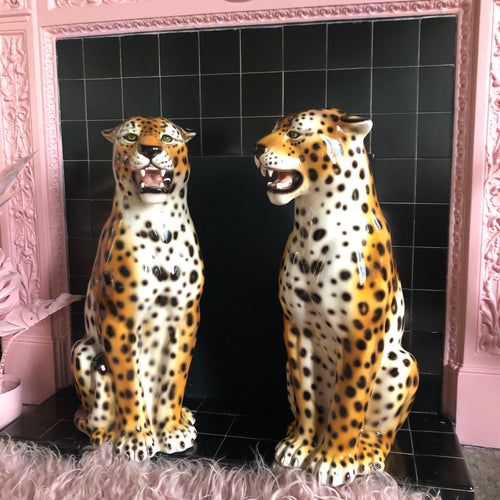 NEW 'Arlo' Large Ceramic Leopard Statues (Single or Pair) Vintage