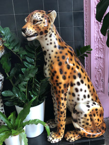 PREORDER 'Coco' Extra Large Vintage Ceramic Cheetah Leopard Statue