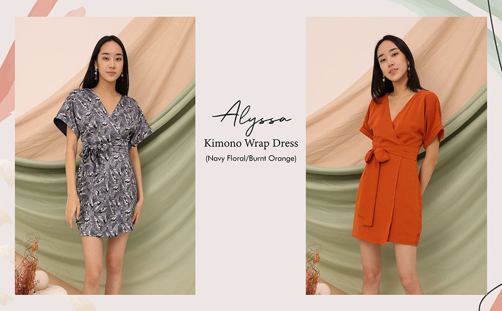 Alyssa Kimono Wrap Dress Navy Floral Burnt Orange