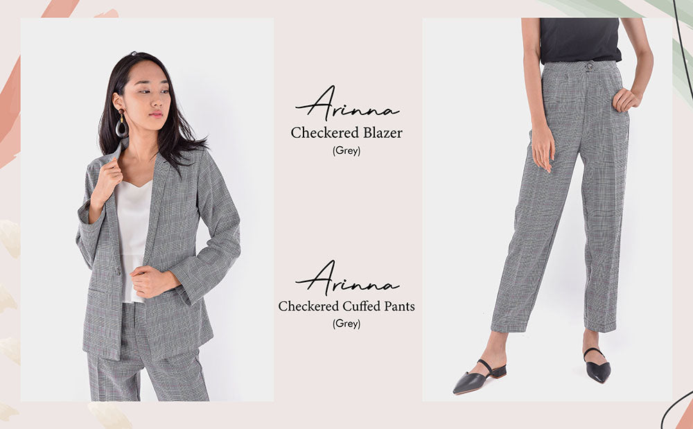 Ariana Checkered Blazer Cuffed Pants Grey