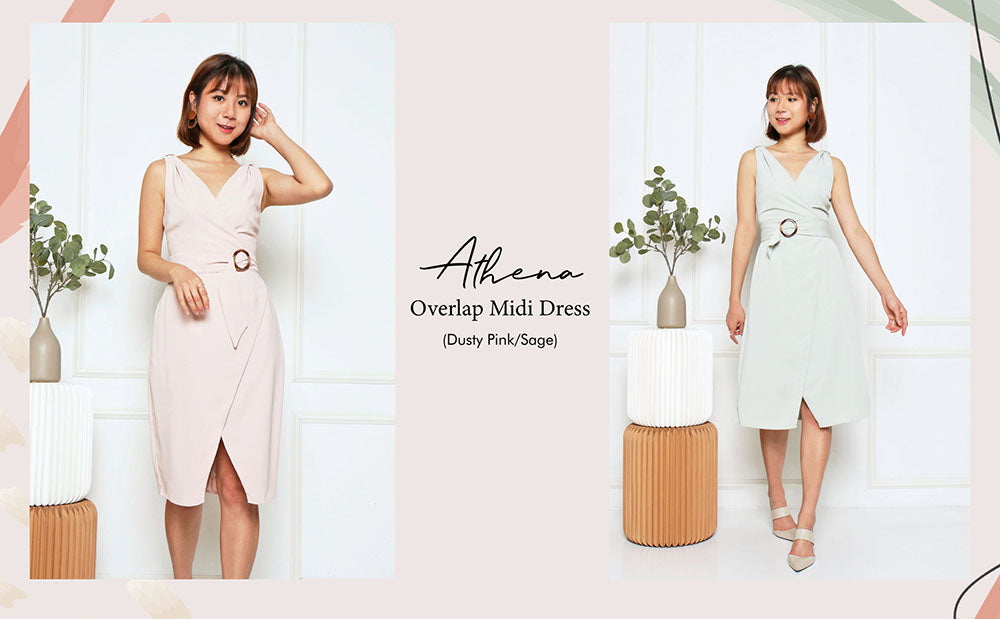 Athena Overlap Midi Dress Dusty Pink Sage