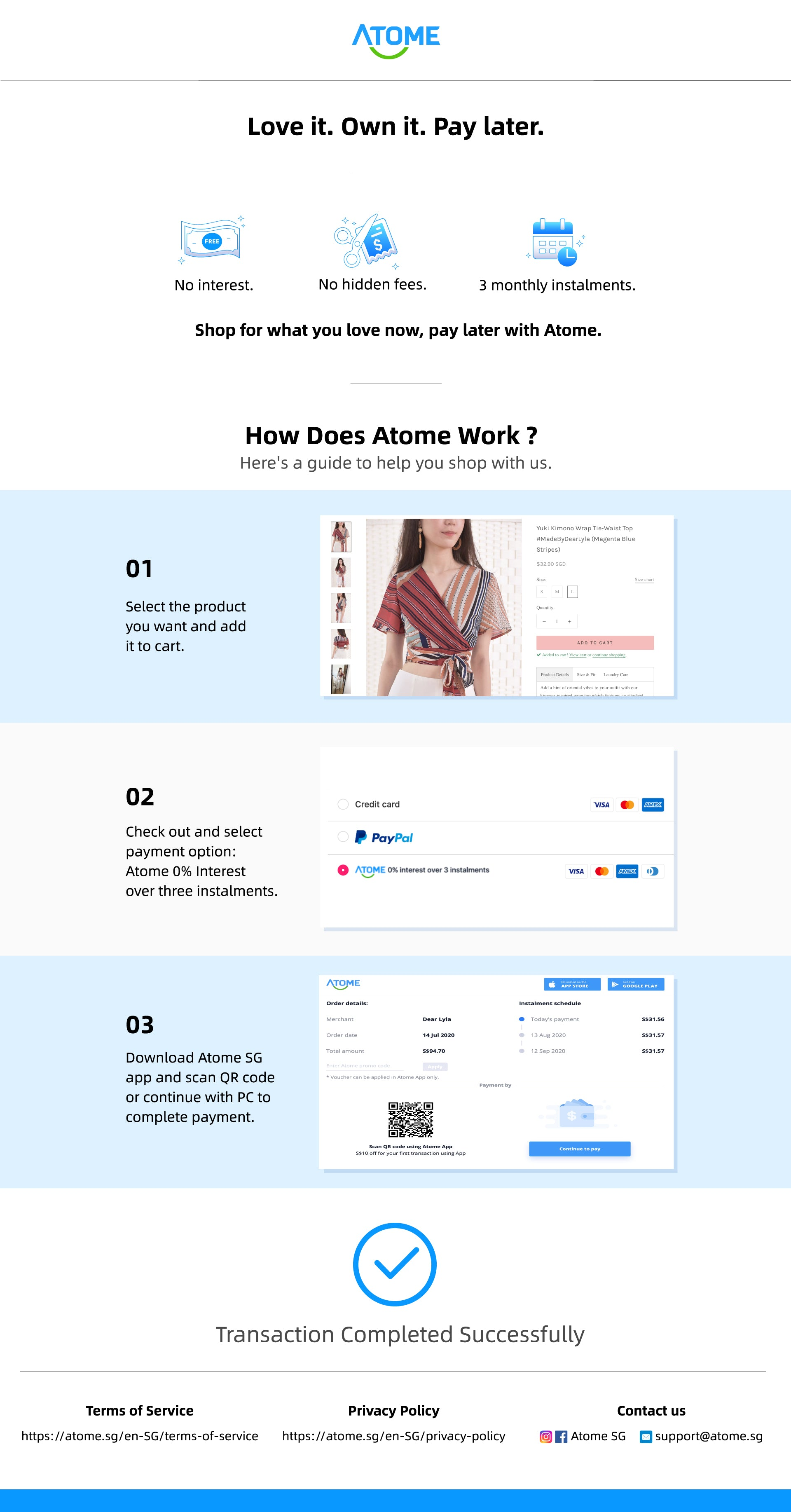 Dear Lyla Singapore Atome SG collaboration love it own it pay later a payment gateway allows you to shop now and pay later in 3 monthly instalments with 0% interest. No interest, no hidden fee, 3 monthly instalments. Online women fashion Singapore women clothing blogshop