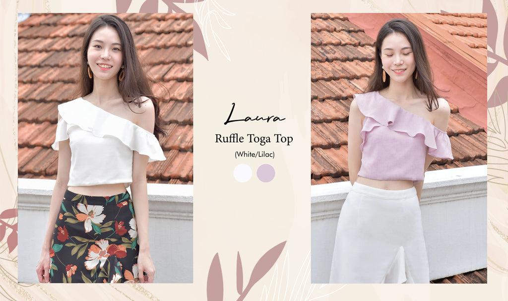 Laura Ruffle Toga Top Lilac White