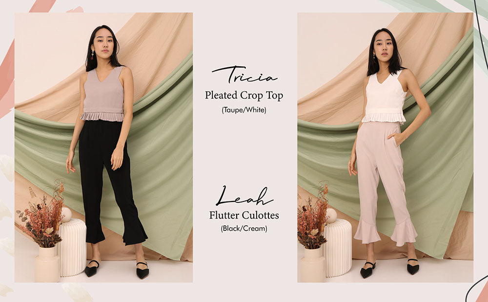Leah flutter culottes Tricia pleated top taupe white
