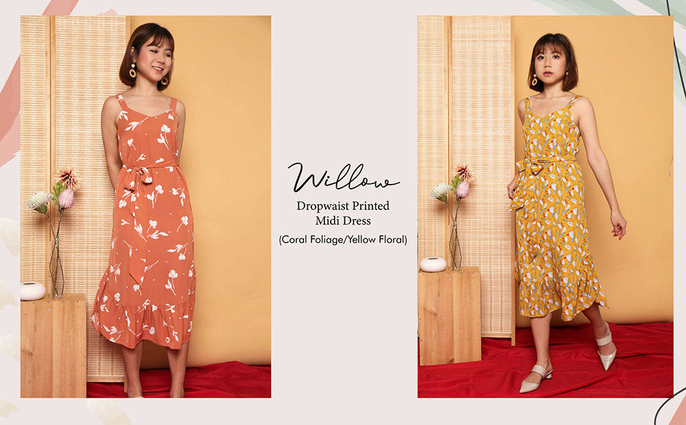 willow dropwaist midi dress coral foliage yellow floral