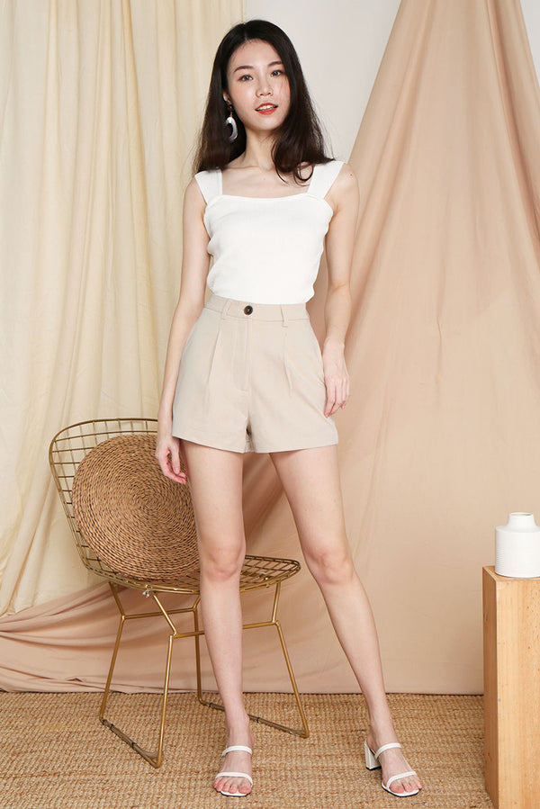 Blair Tailored Shorts #MadeByDearLyla (Sand) l Dear Lyla Singapore l Shop Women Fashion A timeless staple for the closet, this high waist shorts combines style with comfort. Pair it effortlessly with any top - from your smartest work blouse to your casual tee in your wardrobe.  -Functional front zip and button  -Functional pockets  -Non-lined, not sheer -Made of structured polyester materiel  Exclusively manufactured by Dear Lyla.