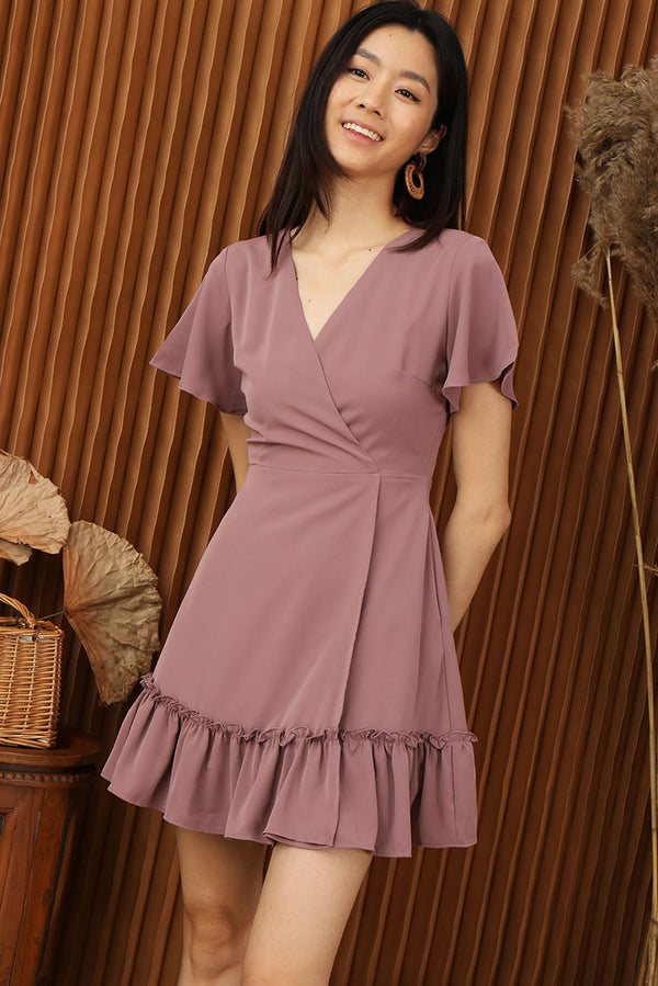 Bliss Overlap Ruffle Hem Dress #MadeByDearLyla (Mauve) | Dear Lyla Singapore | Shop Women Fashion | Free Shipping to Singapore & Malaysia | Designed by DEAR LYLA, made specially for you. | Exclusively manufactured by Dear Lyla | Look feminine and classy in this overlap ruffle hem dress that is perfect for all occasion. Mesmerise the crowd at gatherings and parties this festive season in this flattering yet comfortable piece! Online Women Clothing Singapore Store Blogshop