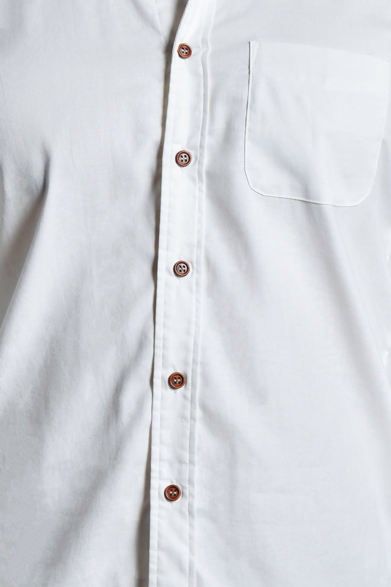 Romeo Pointed Collar Slim Fit Men Shirt (White) | Dear Lyla Singapore | Shop Women Fashion | Free Shipping to Singapore & Malaysia | Designed by DEAR LYLA, made specially for you. | Cut from a lightweight cotton fabric which is very comfy for daily wear. This stylish slim fit shirt is fitted with a chest pocket and button sleeve cuffs which allows you to wear your sleeves down for formal occassions or rolled up for a smart casual look.  Edit alt text