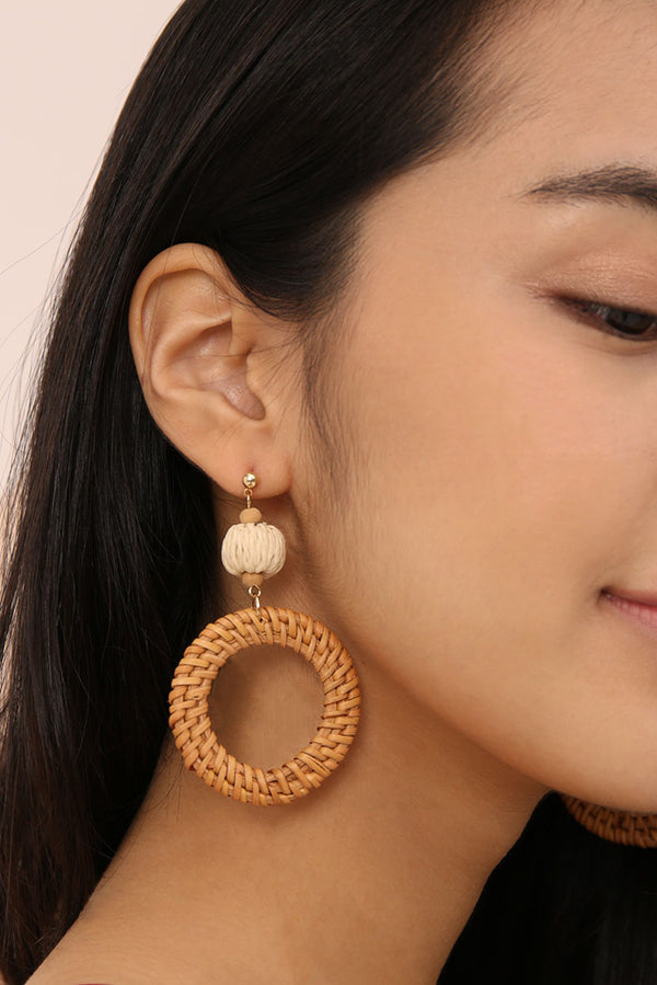 Tazia Woven Rattan Hoop Earrings l Dear Lyla Singapore l Shop Women Fashion Dear Lyla Accessories.  Pair this rattan hoop earrings for a holiday vibe look. Your go-to pair of statement earrings to amp up any casual outfit for that effortless stylish look.   Cart out with code <FREEEARRINGS> to get a pair for free (min. purchase of 3 regular priced clothing items).  Cart out with code <EARRINGS7.85> to get yours at only $7.85 (min. purchase of 1 regular priced clothing item).
