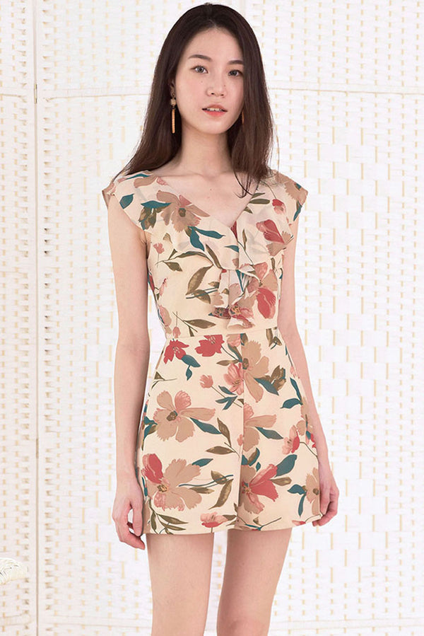 Fiona Ruffle Shoulder Floral Romper #MadeByDearLyla (Sand Floral)