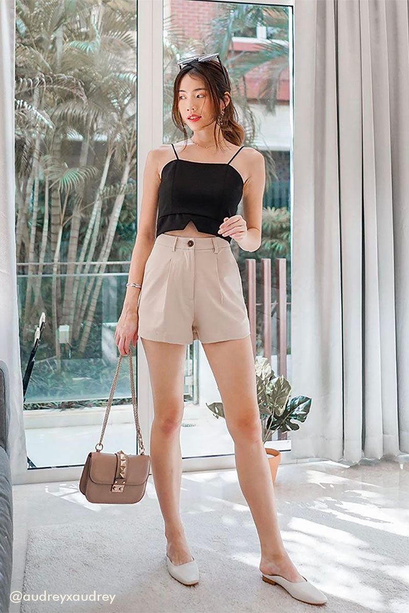 Blair Tailored Shorts #MadeByDearLyla (Sand) l Dear Lyla Singapore l Shop Women Fashion A timeless staple for the closet, this high waist shorts combines style with comfort. Pair it effortlessly with any top - from your smartest work blouse to your casual tee in your wardrobe.  -Functional front zip and button  -Functional pockets  -Non-lined, not sheer -Made of structured polyester materiel  Exclusively manufactured by Dear Lyla.   audreyxaudrey Audrey Lim Instagram