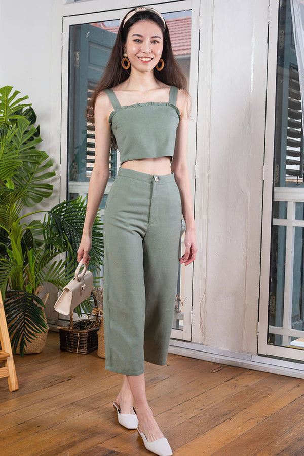 Olivia Linen 2-piece Set #MadeByDearLyla (Olive) l Dear Lyla Singapore l Shop Women Fashion This versatile and wearable matching set will bring you to places. Cut from breathable and comfortable linen fabric, the more you wear it, the more you'll love it. Have fun styling with different tops/bottoms or simply go for the matching look for an effortless chic look.  Available in Olive and Sand.  Exclusively manufactured by Dear Lyla.