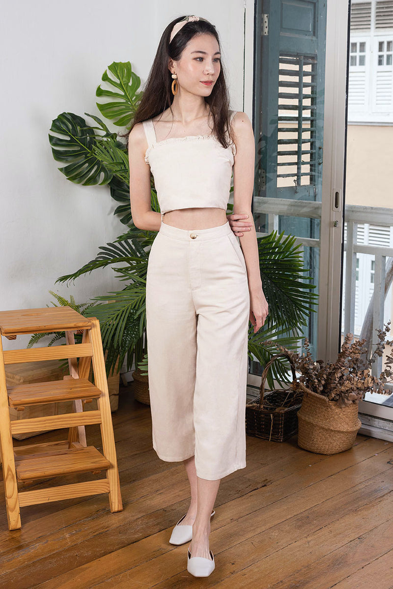 Olivia Linen 2-piece Set #MadeByDearLyla (Sand) l Dear Lyla Singapore l Shop Women FashionThis versatile and wearable matching set will bring you to places. Cut from breathable and comfortable linen fabric, the more you wear it, the more you'll love it. Have fun styling with different tops/bottoms or simply go for the matching look for an effortless chic look.  Available in Sand and Olive. Exclusively manufactured by Dear Lyla.